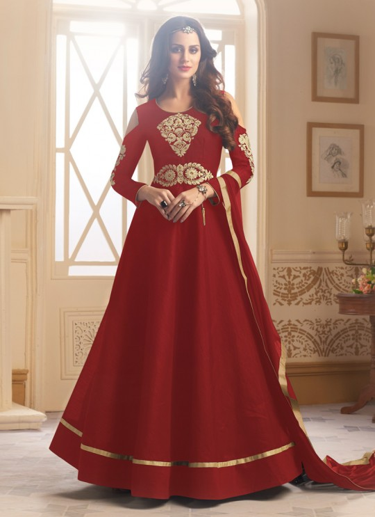 Maroon Art Silk Gown Style Anarkali Navya Vol-5 147A Color By Vardan