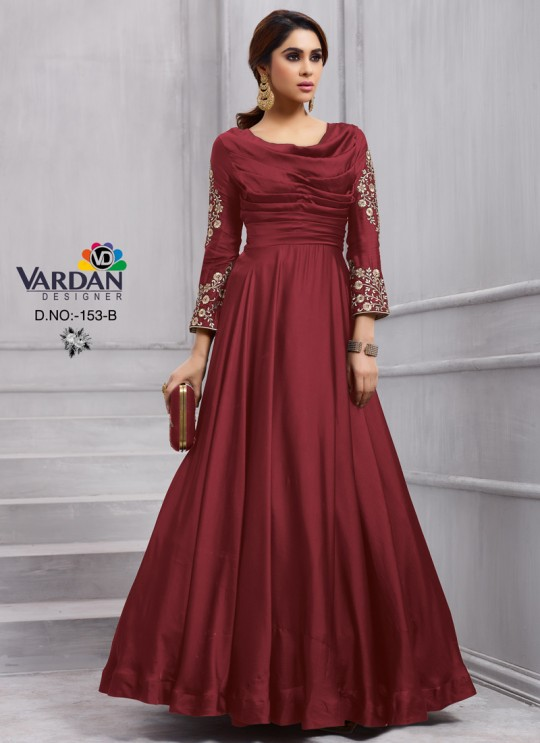 Wine Art Silk Gown Style Anarkali Navya Vol-6 153B Color By Vardan