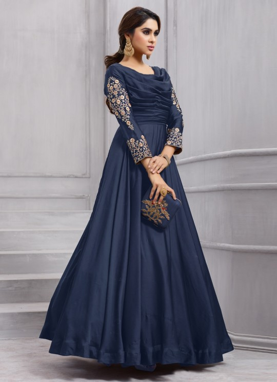 Blue Art Silk Gown Style Anarkali Navya Vol-6 153C Color By Vardan