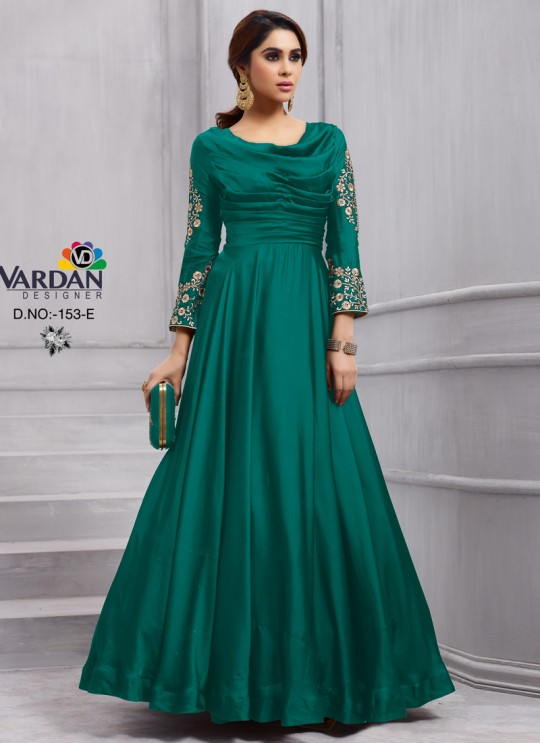Teal Green Art Silk Gown Style Anarkali Navya Vol-6 153E Color By Vardan