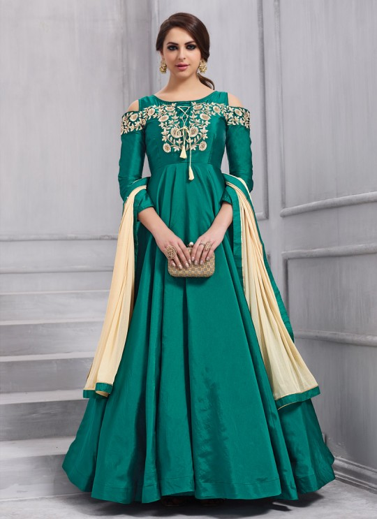 Teal Green Art Silk Gown Style Anarkali Navya Vol-6 154 By Vardan