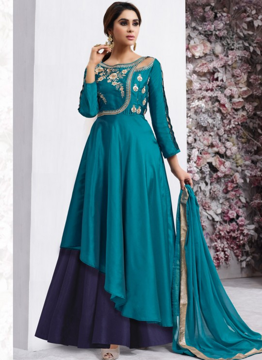Blue Art Silk Gown Style Anarkali Navya Vol-6 155 By Vardan