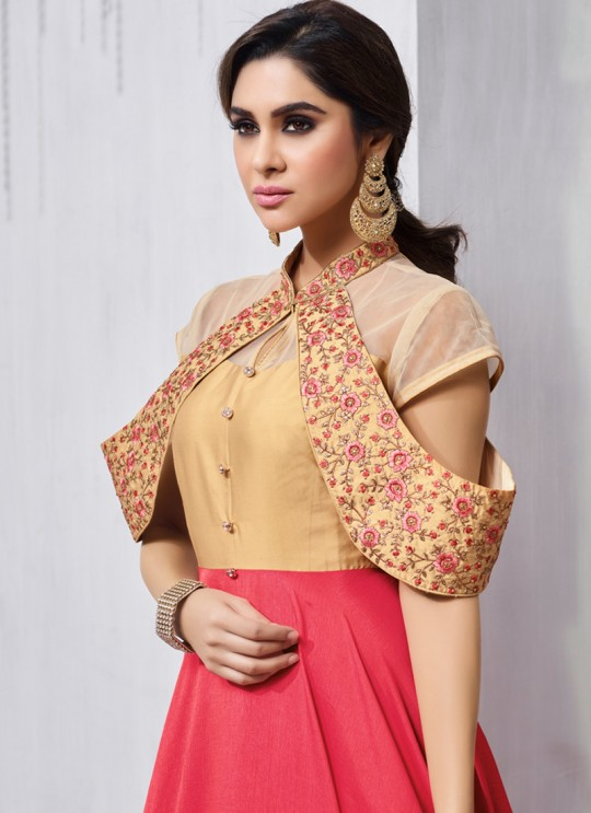 Pink Art Silk Gown Style Anarkali Navya Vol-6 157 By Vardan