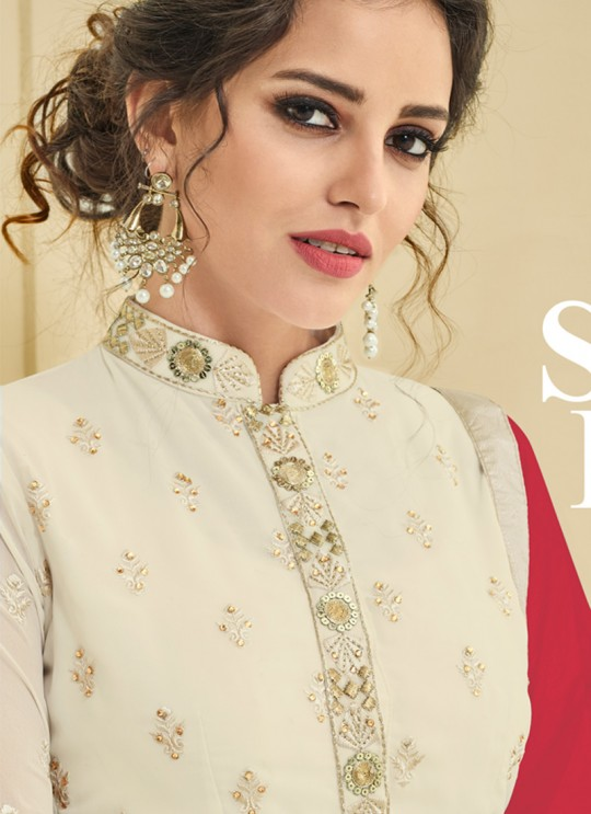 Cream Georgette Churidar Suit Raaga Vol-1 5101 By Vardan