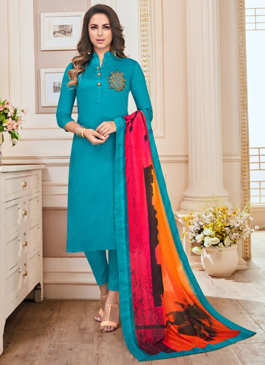 Teal Blue Cotton Churidar Suit Kavya Vol-1 7004 By Vardan Size XL