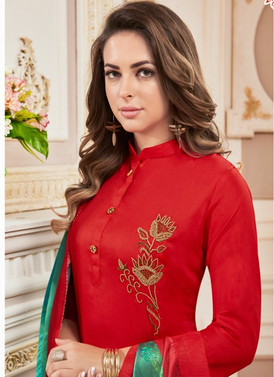 Red Cotton Churidar Suit Kavya Vol-1 7007 By Vardan  Size XL