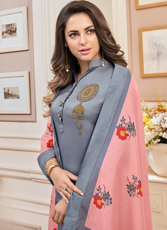 Grey Cotton Churidar Suit Kavya Vol-1 7008 By Vardan  Size XL