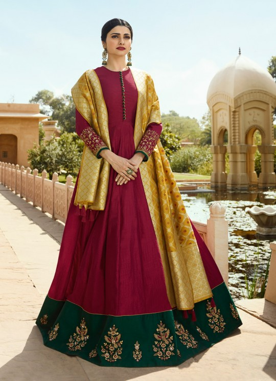 Maroon Silk Gown Style Anarkali Tumbaa Primetime 35251 By Vinay Fashion