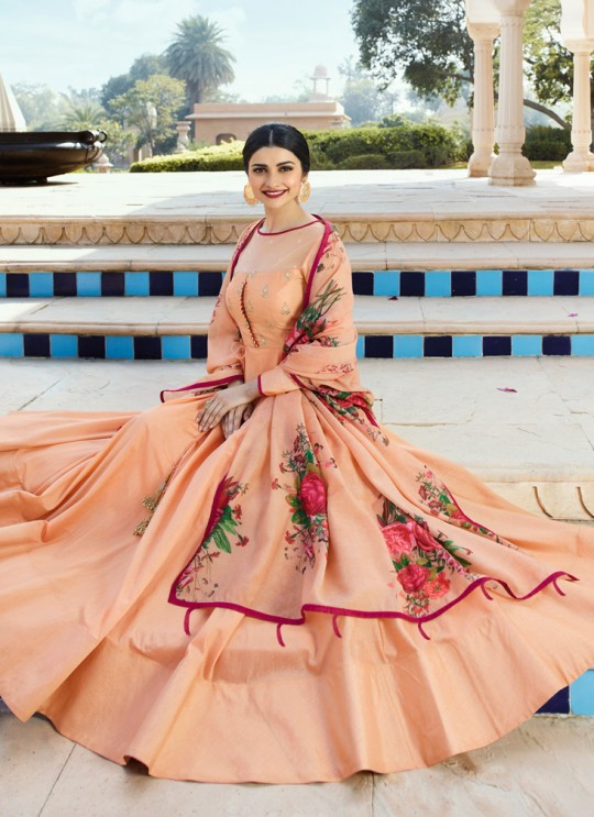 Peach Silk Gown Style Anarkali Tumbaa Primetime 35252 By Vinay Fashion