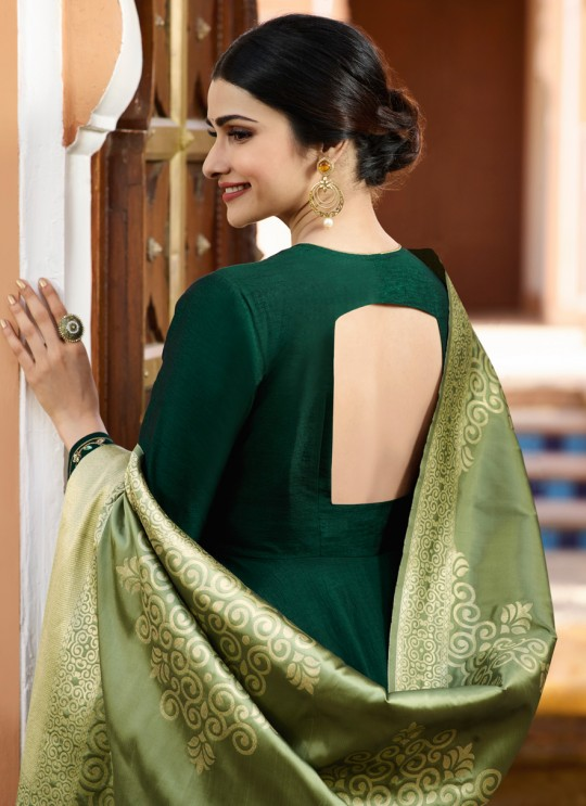 Green Silk Gown Style Anarkali Tumbaa Primetime 35253 By Vinay Fashion