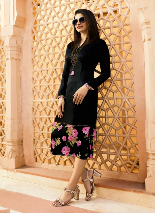 Black satin Partywear Kurti Tumba Rain 35343 By Vinay Fashion