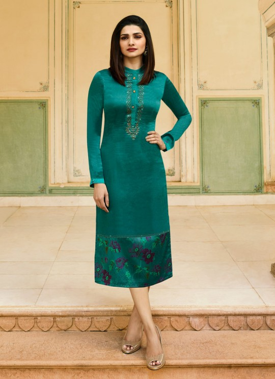 Green satin Partywear Kurti Tumba Rain 35344 By Vinay Fashion