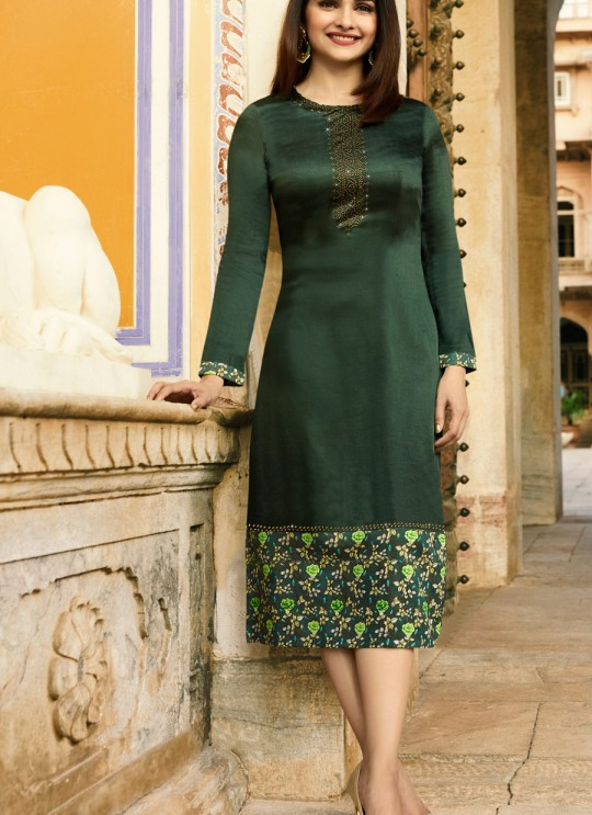 Green satin Partywear Kurti Tumba Rain 35348 By Vinay Fashion