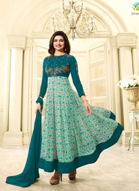 Turquoise Faux Georgette Gown Style Anarkali Prachi Vol 28 4748 Turquoise By Vinay Fashion