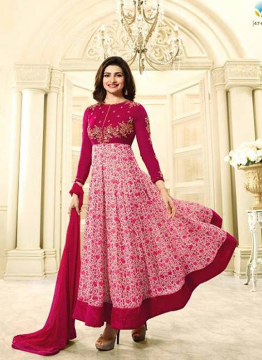 Pink Faux Georgette Gown Style Anarkali Prachi Vol 28 4748 Pink By Vinay Fashion