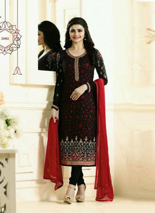 Black Faux Georgette Churidar Suit Kaseesh Silver Pearl 5192 By Vinay Fashion
