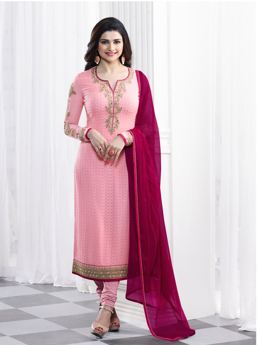 f57d30e922 Buy Online Pink Faux Georgette Churidar Suit Kaseesh Blue Star 5281 By Vinay  Fashion