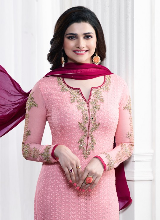 Pink Faux Georgette Churidar Suit Kaseesh Blue Star 5281 By Vinay Fashion