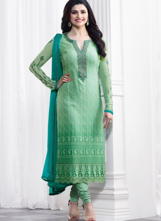 Green Faux Georgette Churidar Suit Kaseesh Blue Star 5282 By Vinay Fashion