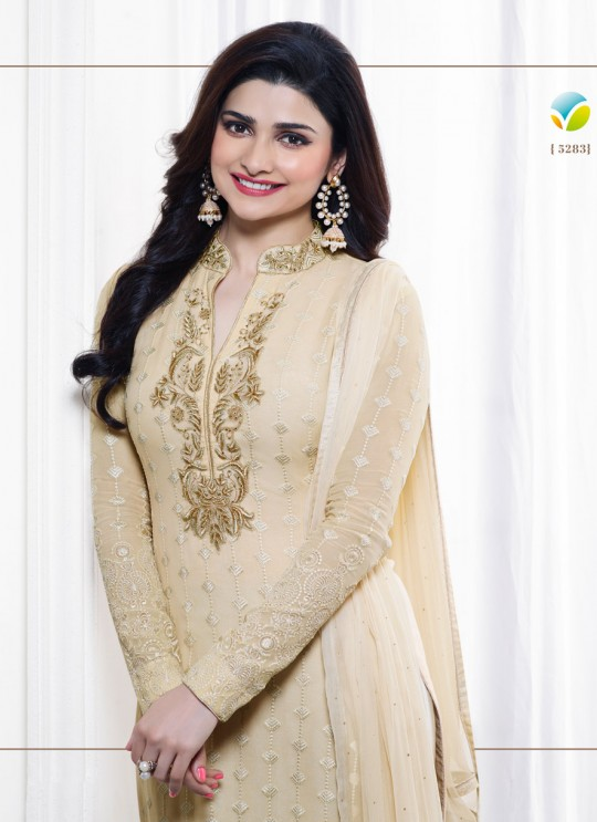 Cream Faux Georgette Churidar Suit Kaseesh Blue Star 5283 By Vinay Fashion