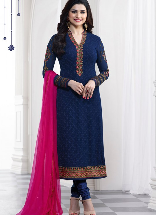 Blue Faux Georgette Churidar Suit Kaseesh Blue Star 5284 By Vinay Fashion
