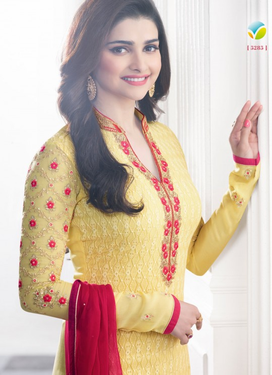 Yellow Faux Georgette Churidar Suit Kaseesh Blue Star 5285 By Vinay Fashion
