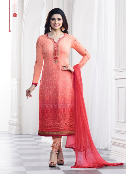 Pink Faux Georgette Churidar Suit Kaseesh Blue Star 5286 By Vinay Fashion