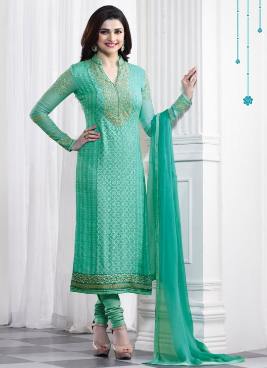 Sea Green Faux Georgette Churidar Suit Kaseesh Blue Star 5289 By Vinay Fashion