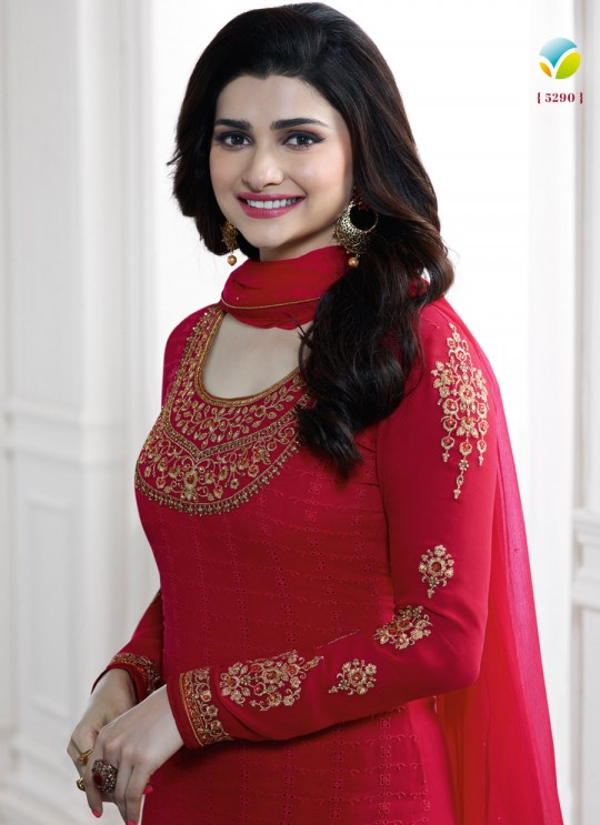 Red Faux Georgette Churidar Suit Kaseesh Blue Star 5290 By Vinay Fashion