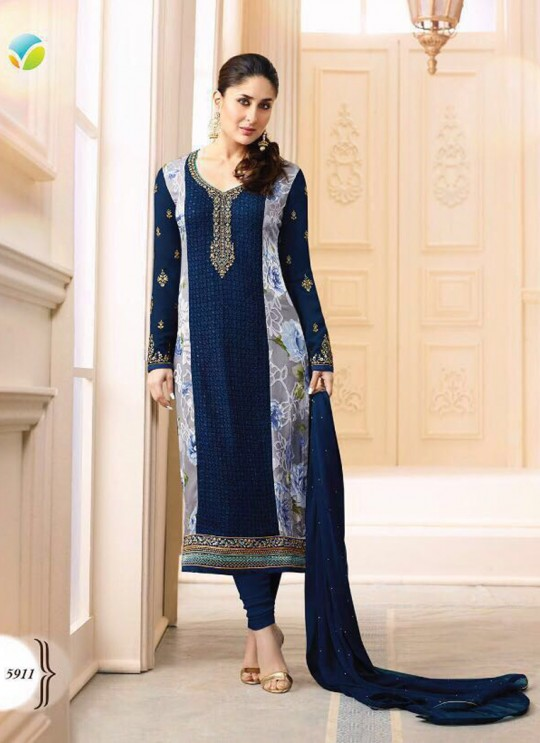 Blue Georgette Brasso Straight Suit Kareena 3 5911 By Vinay Fashion