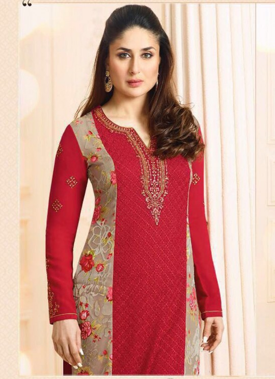 Red Georgette Brasso Straight Suit Kareena 3 5912 By Vinay Fashion