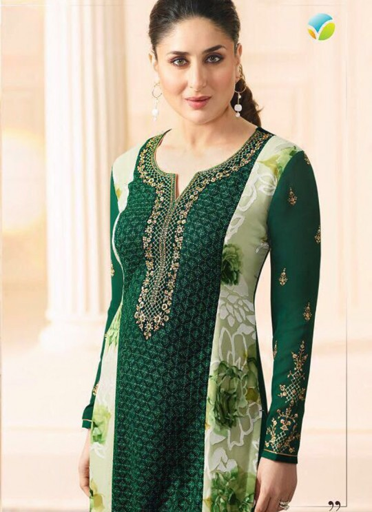Green Georgette Brasso Straight Suit Kareena 3 5914 By Vinay Fashion