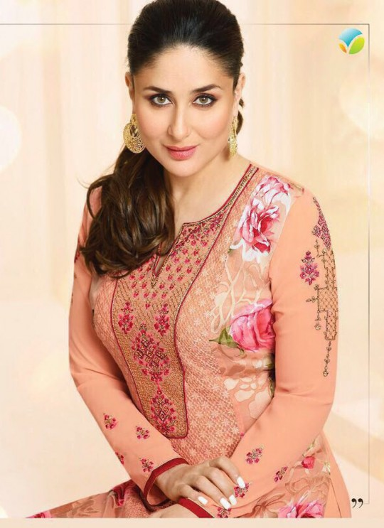 Peach Georgette Brasso Straight Suit Kareena 3 5915 By Vinay Fashion