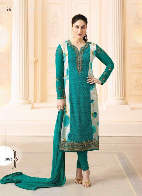 Teal Green Georgette Brasso Straight Suit Kareena 3 5916 By Vinay Fashion
