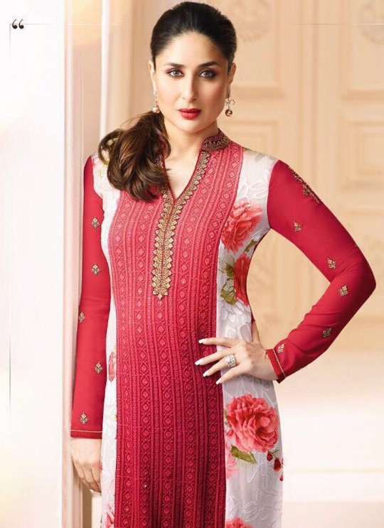 Red Georgette Brasso Straight Suit Kareena 3 5917 By Vinay Fashion
