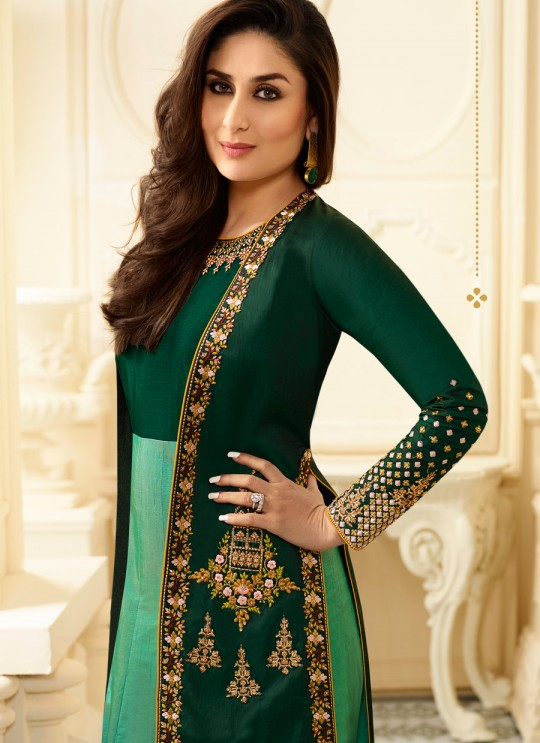 Green Pure Georgette Jacket Style Suit Kaseesh Kareena 6181 By Vinay Fashion