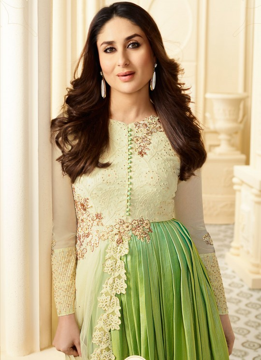 Green Pure Georgette Gown Style Suit Kaseesh Kareena 6186 By Vinay Fashion