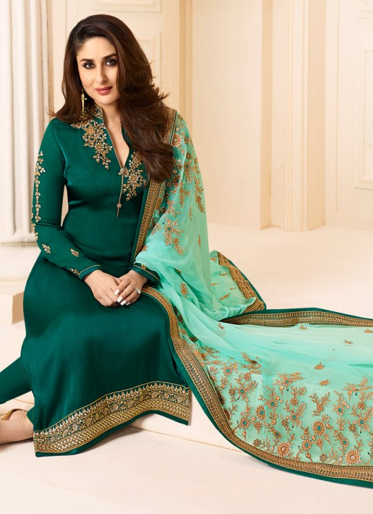 Green Georgette Silk Straight Suit Kareena 3 6272 By Vinay Fashion