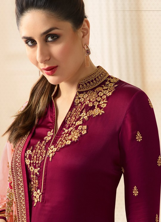 Wine Georgette Silk Straight Suit Kareena 3 6276 By Vinay Fashion