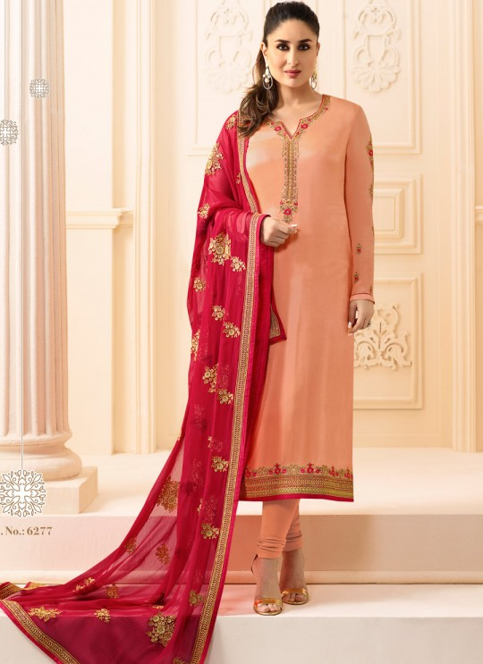 Peach Georgette Silk Straight Suit Kareena 3 6277 By Vinay Fashion