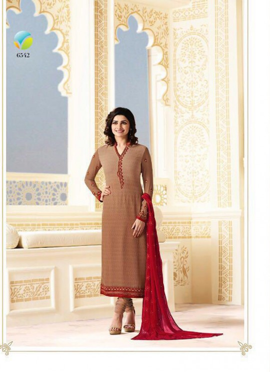 Brown Faux Georgette Straight Suit Nazakat 6542 By Vinay Fashion
