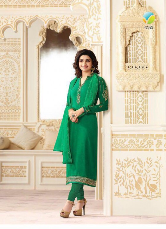 Green Faux Georgette Straight Suit Nazakat 6545 By Vinay Fashion