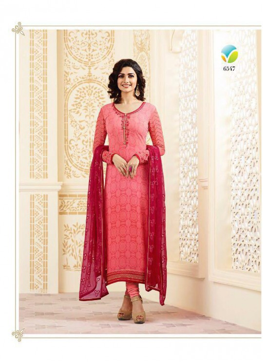 Pink Faux Georgette Straight Suit Nazakat 6547 By Vinay Fashion