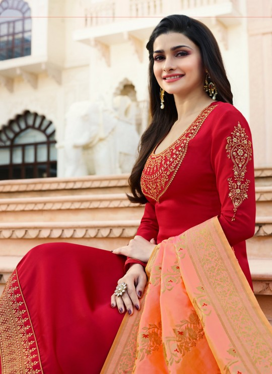 Red Satin Churidar Suit Kaseesh Banaras 6902 By Vinay Fashion