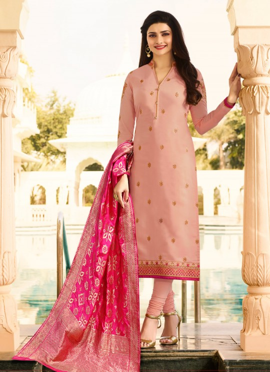Peach Silk Churidar Suit Kaseesh Banaras 6904 By Vinay Fashion