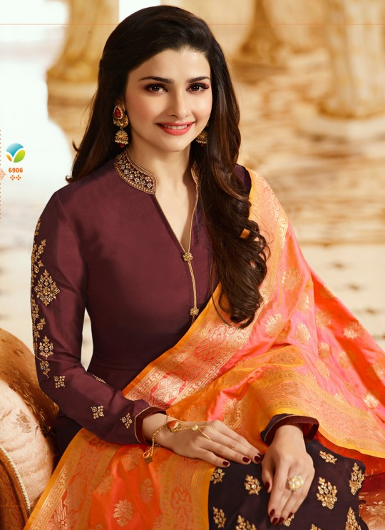 Wine Georgette Churidar Suit Kaseesh Banaras 6906 By Vinay Fashion