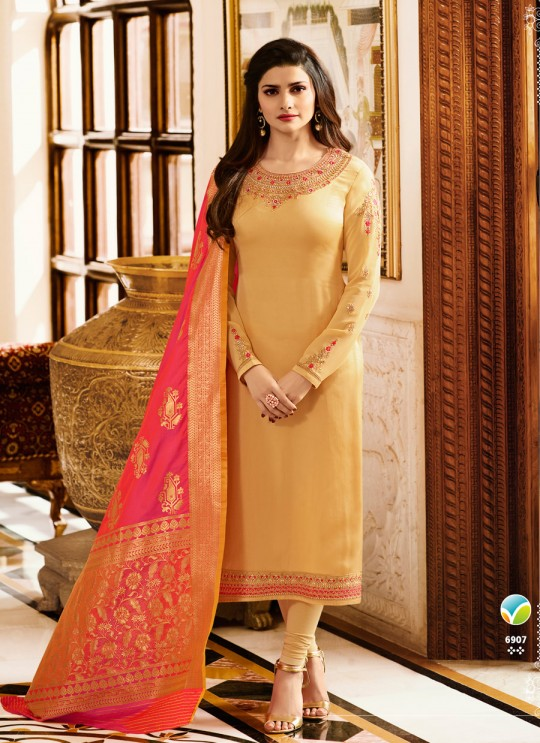 Beige Satin Churidar Suit Kaseesh Banaras 6907 By Vinay Fashion