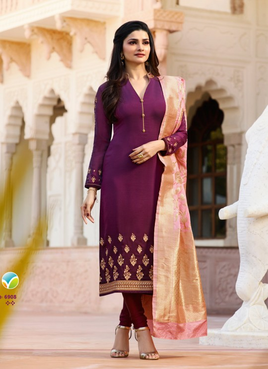 Purple Satin Churidar Suit Kaseesh Banaras 6908 By Vinay Fashion