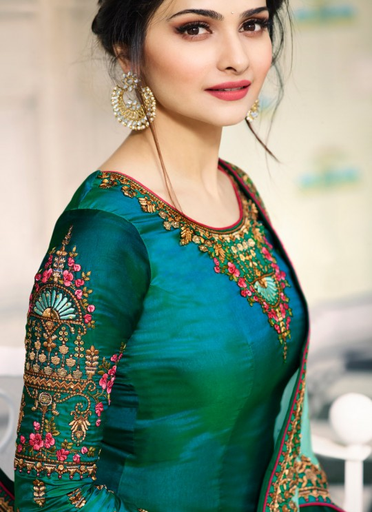 Green Silk Straight Suits Kaseesh Mumtaz 7084 By Vinay Fashion