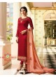 Red Silk Straight Suits Kaseesh Mumtaz 7085 By Vinay Fashion